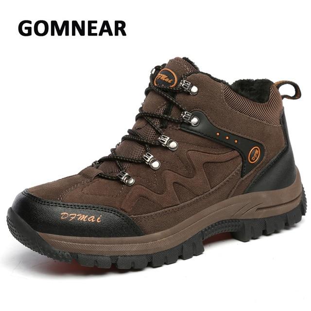 7feeae9c Gomnear duży rozmiar futro zimowe buty ocieplane mężczyźni piesze wycieczki  wspinaczka sport sneakers oddychające wygodne buty