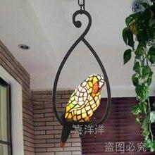 Витражи лампы подвесные светильники витражи Чисто ручной работы стеклянная бусина тени попугай ручной подвесной светильник