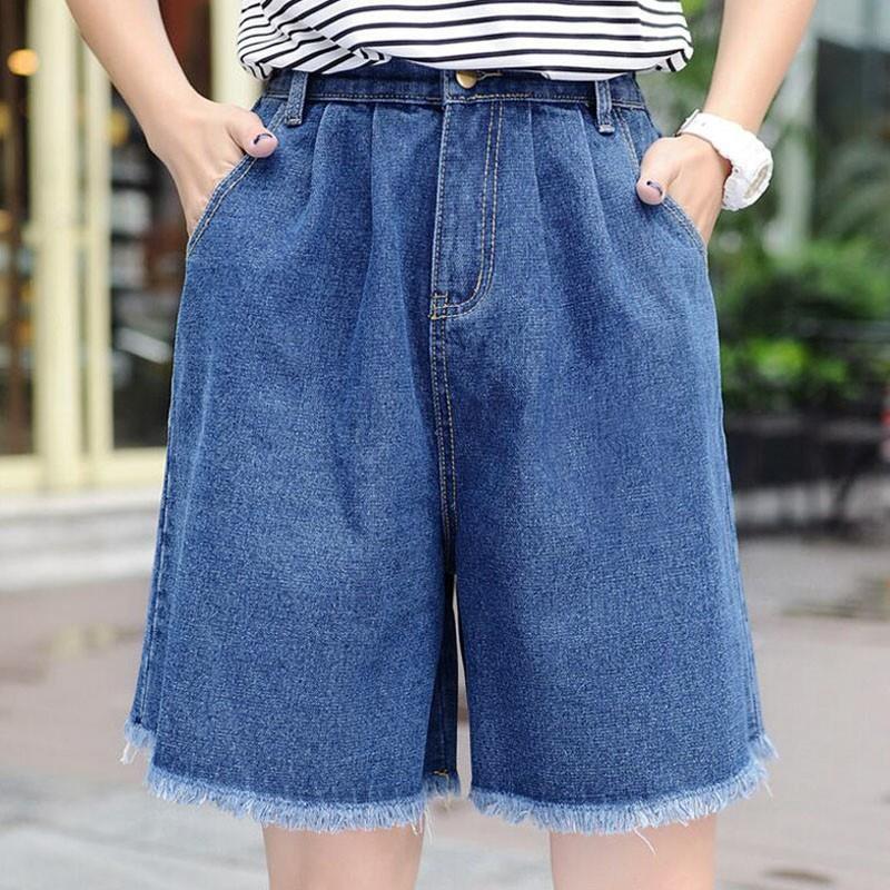 Summer Knee Length Women Casual Jeans Shorts Harajuku Wide Leg High Waist White Denim Shorts Vintage Tassel Hem Short Femme