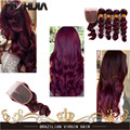 Burgundy Loose Wave Human Hair 99J Red Wine Human Hair Extensions 7A Brazilian Hair Rosa Hair 4 Bundles With 4x4 Lace Closure