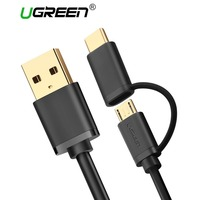Ugreen Micro USB Cable for Samsung 2 in 1 USB Type C Cable Fast Charger Data USB C Cable for Xiaomi 4C Nexus 5X 6P Android Phone