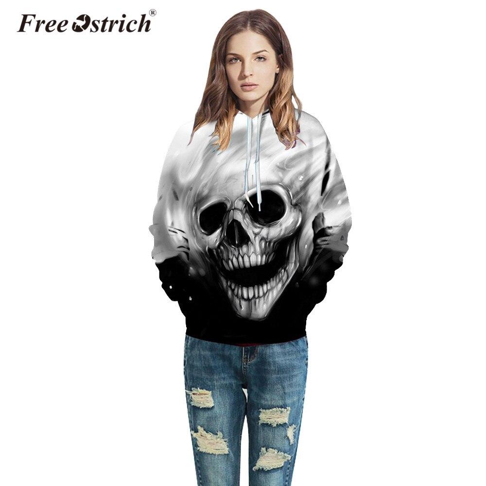 Free Ostrich Hoodies Sweatshirt Pullovers Casual Long Sleeve 3D Melted Skull Print Women Men Harajuku Sudadera Mujer A0835