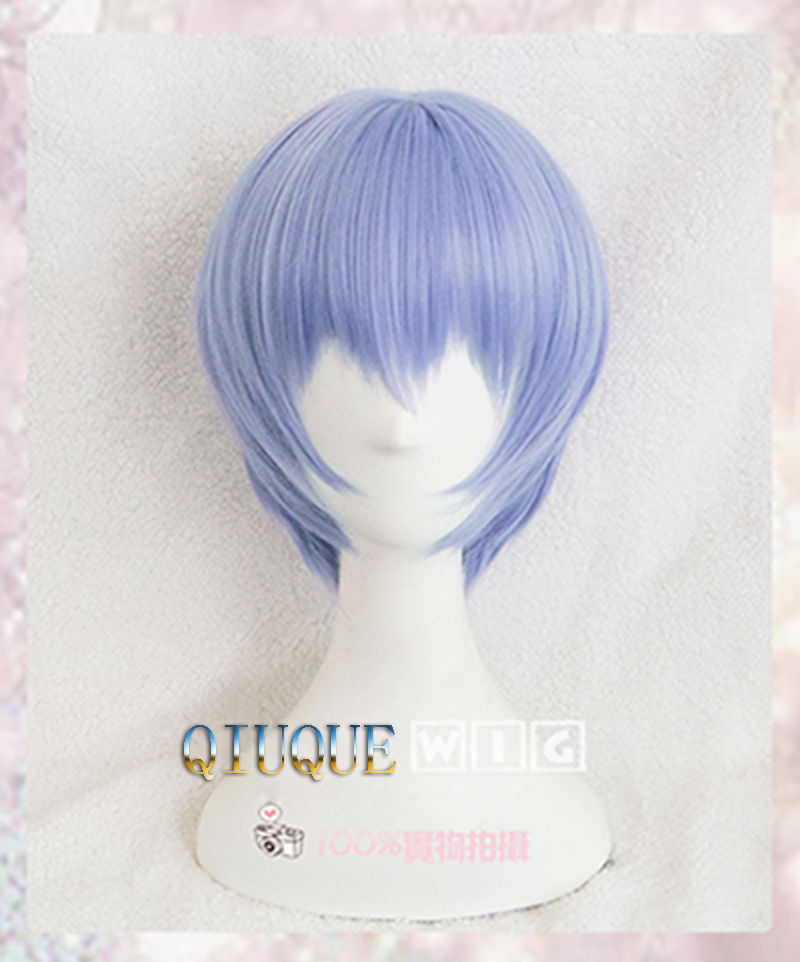 EVA Ayanami Rei Wigs Short Light Blue Heat Resistant Synthetic Hair Perucas Cosplay Wig + Wig Cap