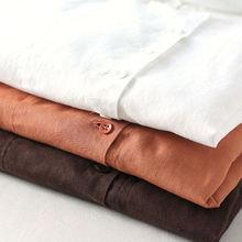 Johnature Women Vintage Shirt Spring New Cotton Linen Blouses Casual Long Sleeve Turn-down Collar Top Women Button Shirts