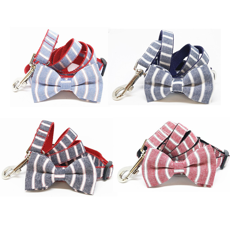 Valentines Stripe Day Dog Collar Bows and Leash Set,Hot Sale Fashion High Quality CottonGentle Pet Gift