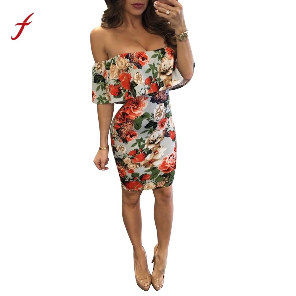 b76a6a769478 MUQGEW nuevo diseño de las mujeres Sexy hombro con volantes Mini vestido de  verano elegante Casual corta de impresión Floral vestidos de fiesta 2019