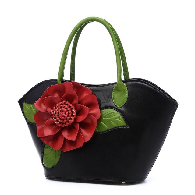 2018 vintage three-dimensional flower handbags color block handbag Chinese  style female big bags shoulder bag