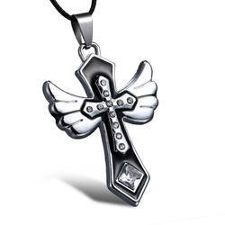 Stainless steel necklace jewelry women angel necklaces Religious Cross pendant necklace church follower Jewelry