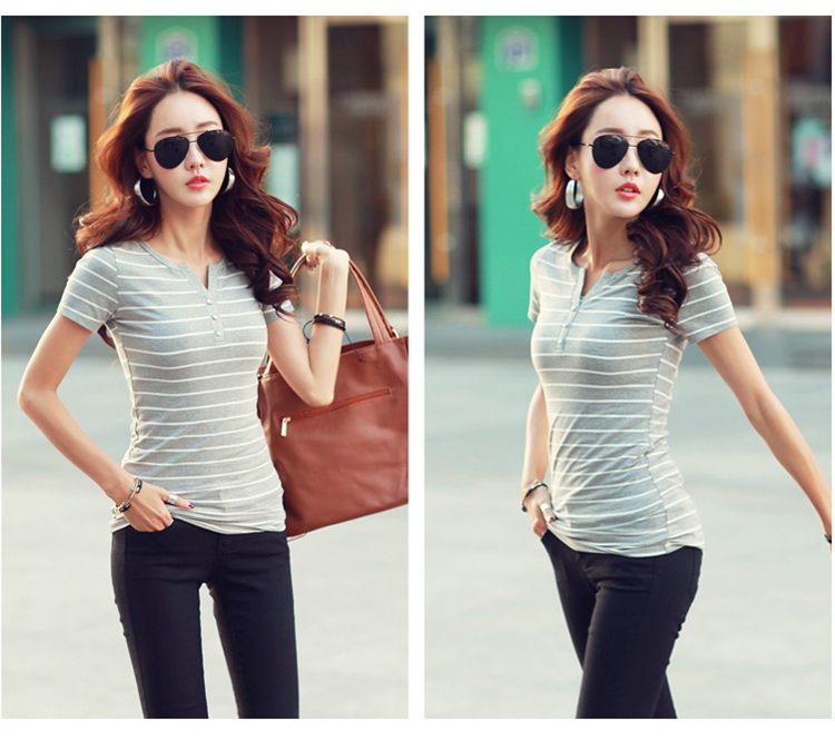 HTB1tHlbbv1H3KVjSZFHq6zKppXaW - Women T-Shirt Cotton Short Long Sleeve Lady T Shirt Striped Summer Spring Autumn Female Blusa White Plus Size Fashion Top Tee T0