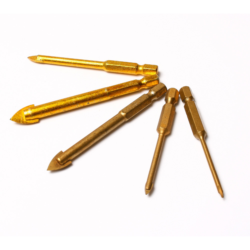 5pcs/lot titanium coated hex glass tile drill bit Set for Wall ...