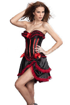 MOONIGHT Red satin with stripe sexy   corset     bustier   lace up boned costume showgilr S-2XL+g-String+mini skirt   corset   Skirt