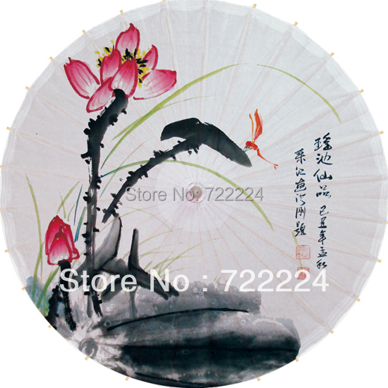 Free shipping Dia 84cm chinese lotus high quality rain parasol dance decoration sunny parasol cosply dance oiled paper umbrella dia 84cm chinese handmade red plum blossom oil paper umbrella ancient waterproof sunshade parasol decoration gift dance umbrella