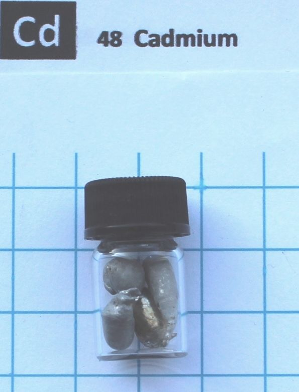 Cadmium Metal, Cd Element 48 sample, 5 Grams In Glass Vial dysprosium metal 99 9% 5 grams 0 176 oz