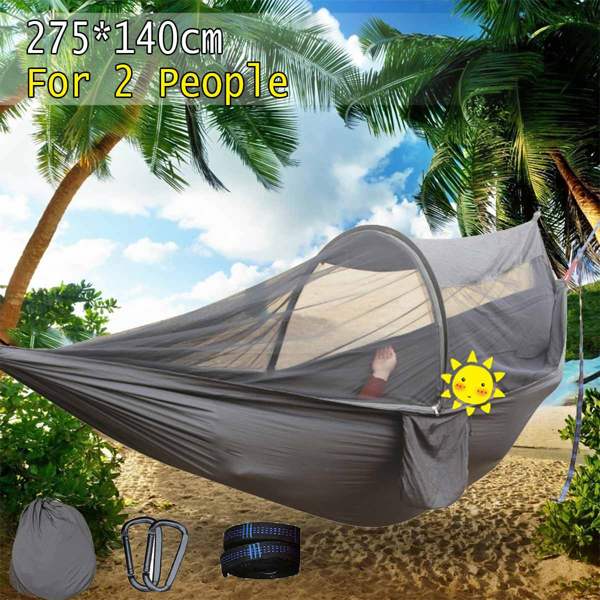 Portable Outdoor Hammock with Mosquito net 1-2 Person Travel Camping Hammock Hunting Sleep Bed Hanging Chair ParachutePortable Outdoor Hammock with Mosquito net 1-2 Person Travel Camping Hammock Hunting Sleep Bed Hanging Chair Parachute