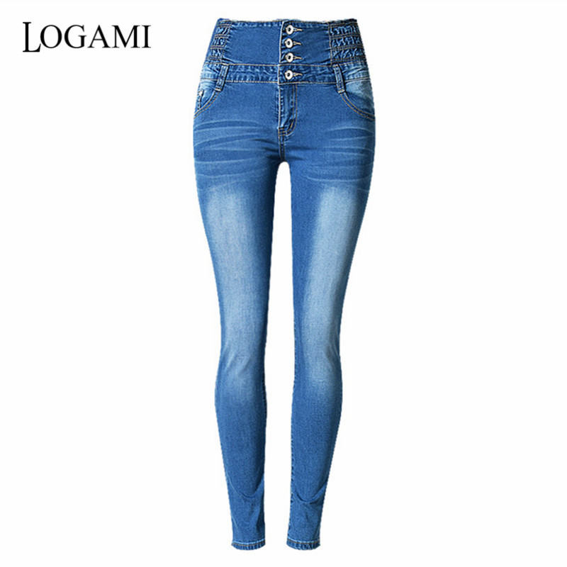 LOGAMI High Waist Skinny Jeans Woman Elastic Slim Pencil Jeans For Women Denim Pants
