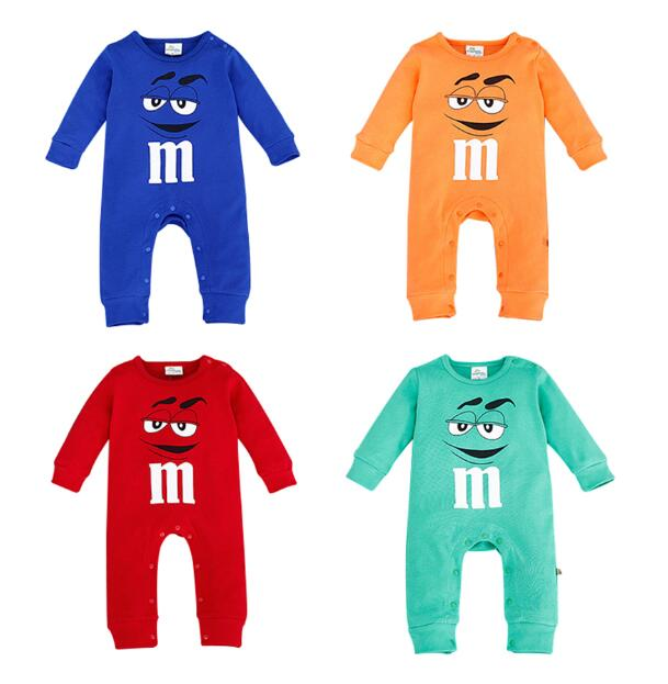 2017 Infant Clothes Autumn NewBorn Baby   Rompers   letter M Clothing Costumes Cartoon Funny Kids Jumpsuit New Born Boys Clothes