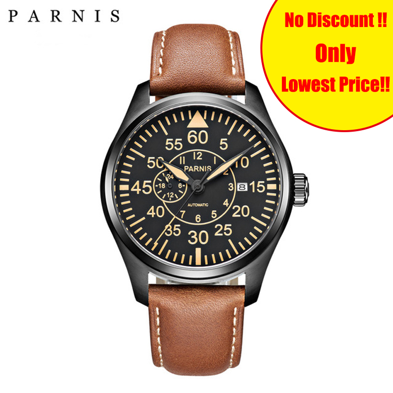 Parnis 44mm Mechanical Mens Watches Miyota 21 Jewels pilot Military Watch Automatic Men Watch 2019 Sapphire Crystal Wrist WatchParnis 44mm Mechanical Mens Watches Miyota 21 Jewels pilot Military Watch Automatic Men Watch 2019 Sapphire Crystal Wrist Watch