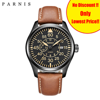 Parnis 44mm Mechanical Men's Watches Miyota 21 Jewels pilot Military Watch Automatic Men Watch 2019 Sapphire Crystal Wrist Watch
