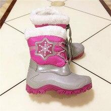 Мода 2017 для девочек зимние ботинки детские ботинки для девочек Детская обувь водонепроницаемые зимние ботинки теплые плюшевые зимние ботинки дети Сапоги и ботинки для девочек