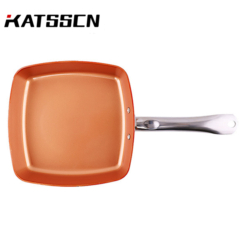 Kitchen Cookware Sets With Stainless steel Handle Frying Pan High quality Frying Pan Non stick Copper Square Chef Pan 259 in Pans from Home Garden