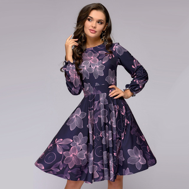 MOARCHO Women Floral Printing A Line Party Dress Ladies Lantern Sleeve O Neck Knee-Length Dress 2018 Autumn Elegant Women Dress