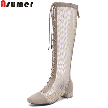 ASUMER 2019 summer boots woman square toe lace up suede leather shoes med heels ladies prom shoes Hollowing out knee high boots