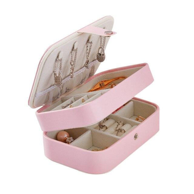 Caixa de jóias de viagem portátil de dupla camada de couro do plutônio expositor organizador caso de armazenamento para brincos colar anéis