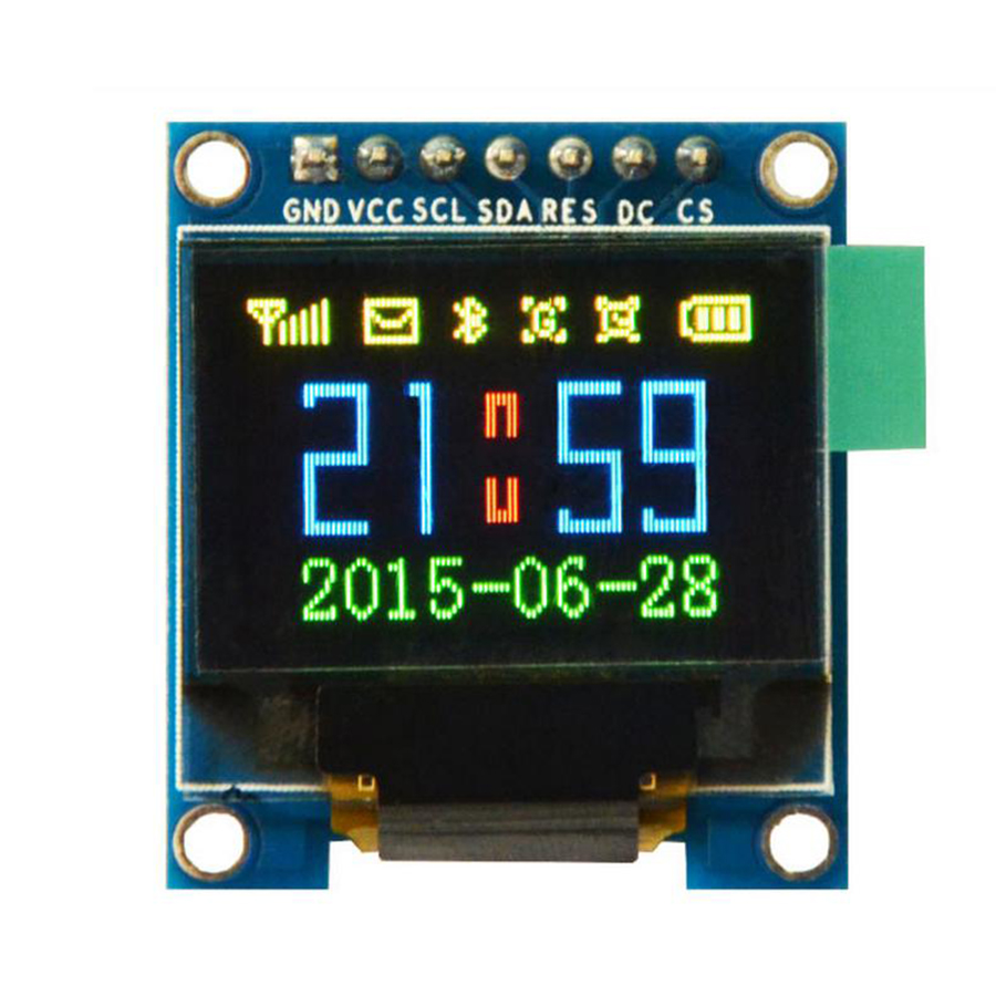 Free Shipping 2pcs/lot 0.95 inch 7pin Full Color 65K Color ssd1331 OLED Display 3.3v 5v Serial SPI Small LCM Module for 51