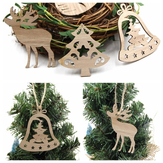 10PCS DIY Christmas Snowflakes&Deer&Tree Wooden Pendant Ornaments For Christmas Party Xmas Tree Ornaments Kids Gifts Decorations 15