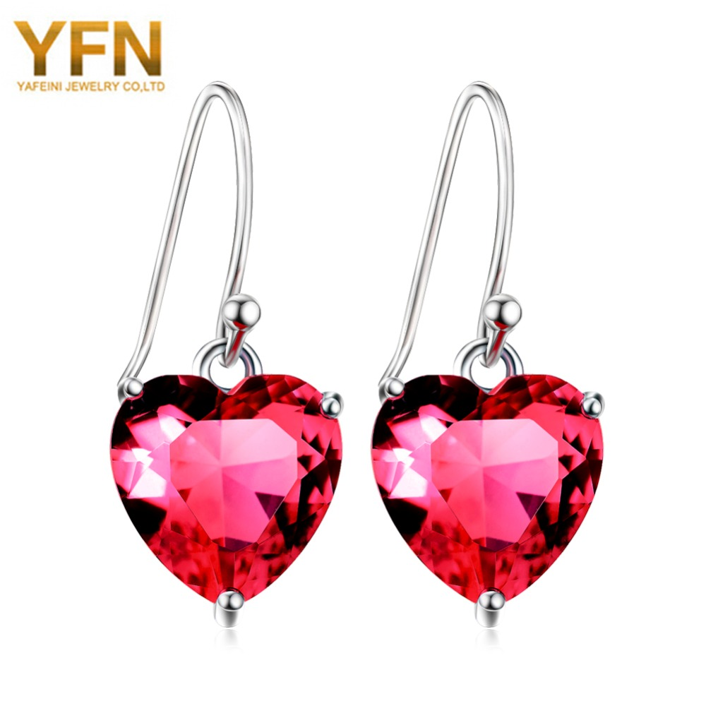 Yfn Genuine 925 Sterling Silver Romantic Style Red Rhinestone Heart Shape  Drop Earrings For Women Wedding