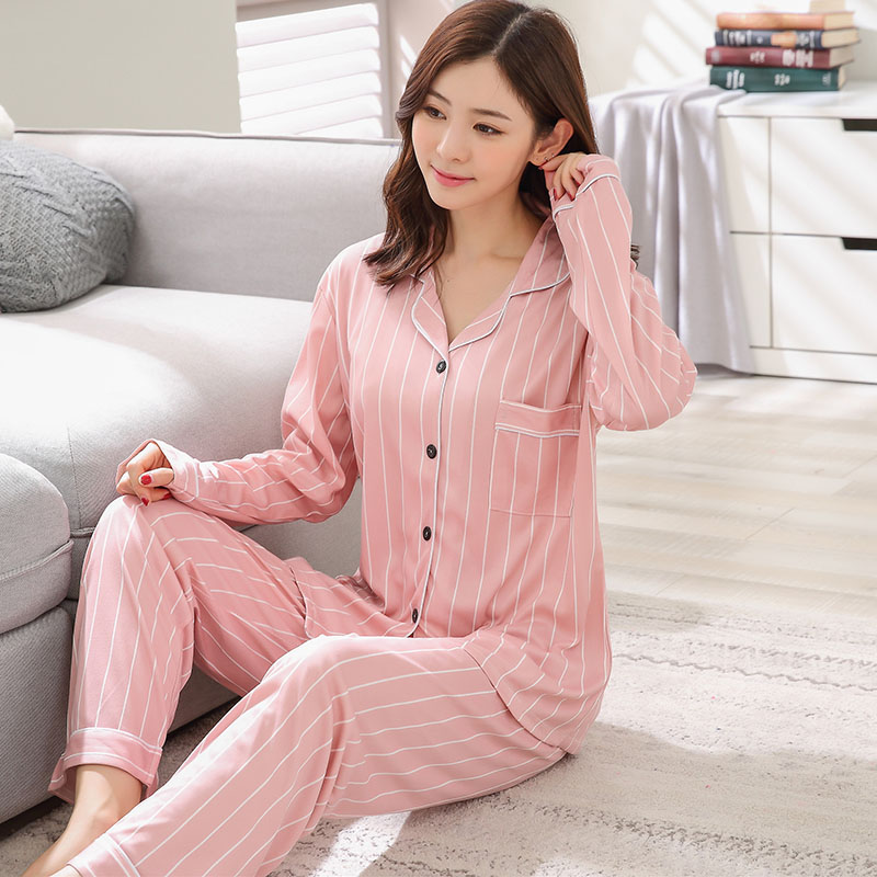 2018 Autumn Casual Striped Home Clothing Girls Cotton Pajamas Sets Femme Long Sleeve Pyjama Loungewear Homewear Pijama for Women