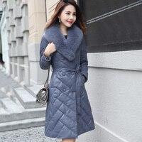 Genuine Leather Jacket Winter Jacket Women Fox Fur Collar Sheepskin Coat Women's Down Jacket Korean Long Coats Plus Size MY2021