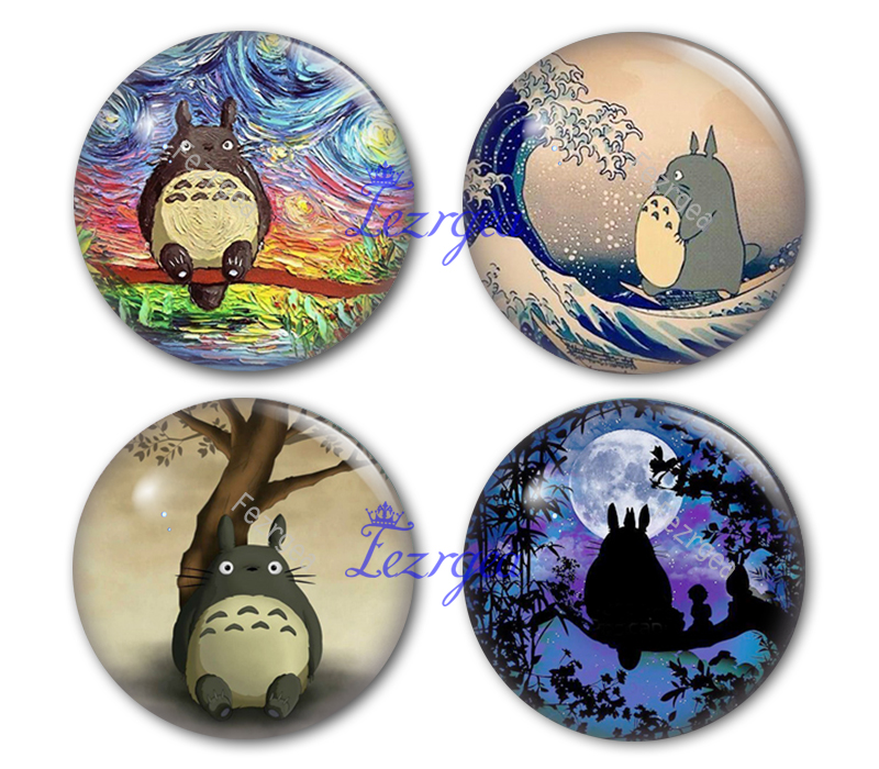 Totoro Round Glass Cabochon, Totoro Making Photo Cameo Cabochon Setting Supplies For Jewelry Accessories,Cartoon Glass Cabochon.