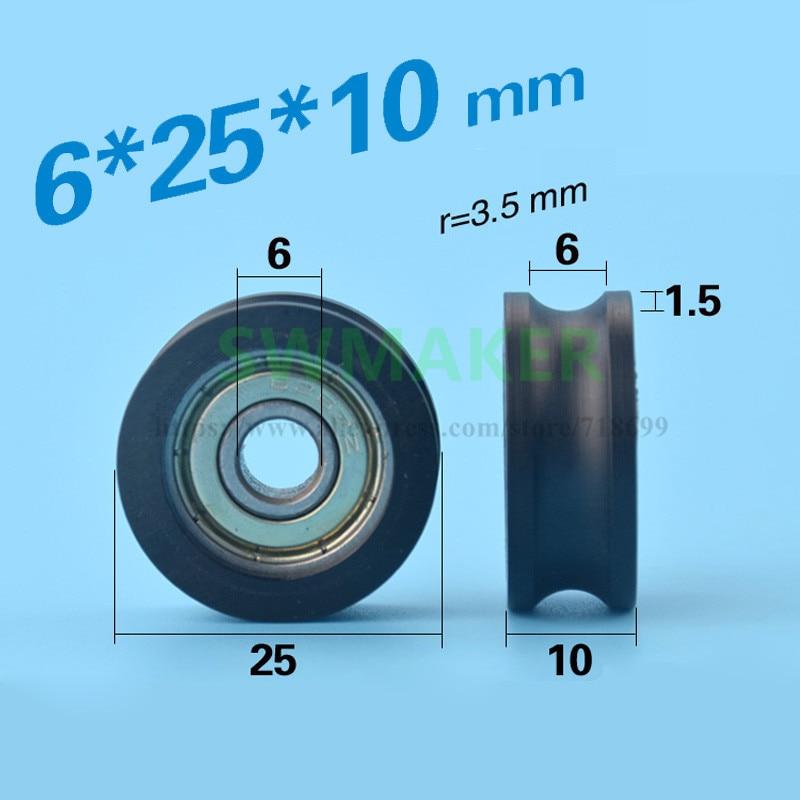 1pcs 6*25*10mm Groove, U Groove, Wheel Roller, 626zz Flat Roller, Wheel Package, Plastic Package, Pulley, Bearing