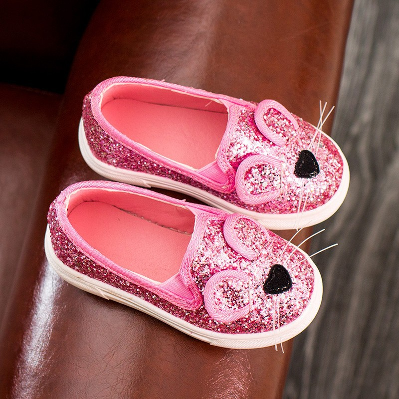New Kitty Cat Diamond Children Sheos Princess Girls Sports Shoes Cartoon Spring Autumn Sneakers Kids Shoes Breathable Light