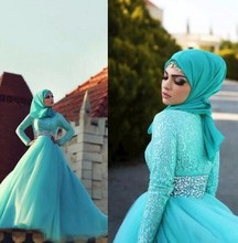Vestidos de novias Muslim Long Sleeve Formal Evening Dress With Hijab Long Sleeve 2016 High Neck Lace Tulle Women Evening Gown
