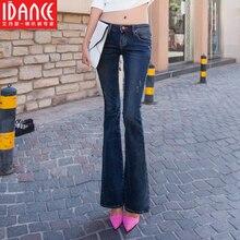 Весна клеш джинсы Женщины тонкий темный цвет упругой загрузки вырезать длинные брюки