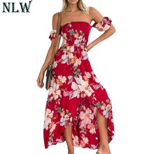 96690ff40a NLW Red Flower Maxi Dress Off Shoulder Summer Dress 2018 Women High Split  Backless Sexy Long Dress Beach Party Girl Vestidos