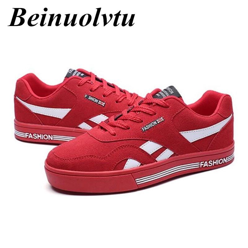 Prix pour Beinuolvtu Britannique style hommes planche à roulettes chaussures plates sneakers pour hommes Formateurs chaussures sneakers hommes toile chaussures 39-44