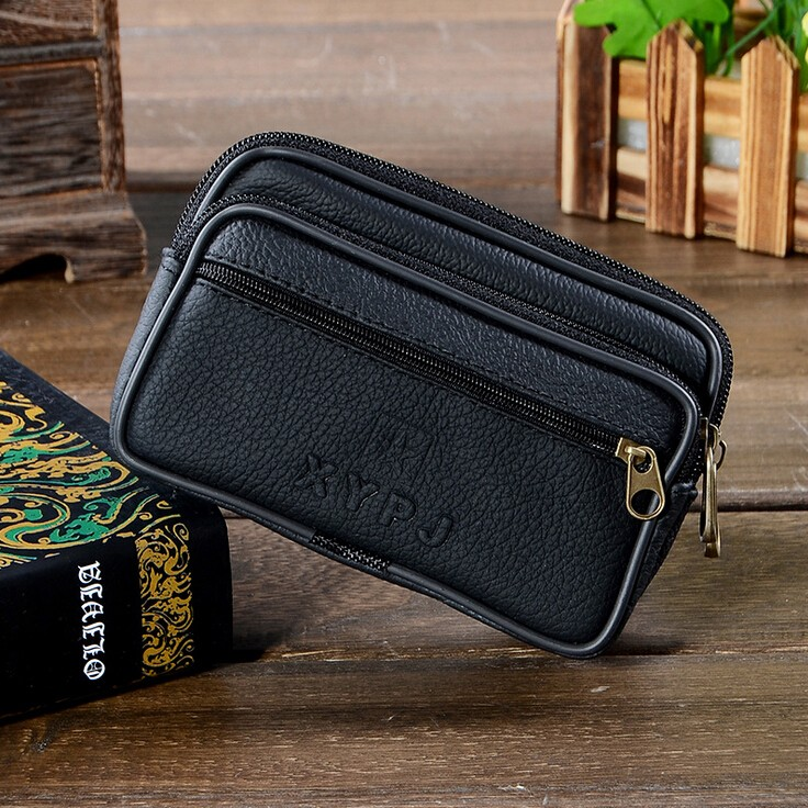 Men Fanny Pack Mobile Phone Bag Black PU Leather Good Quality Zipper Coin Purse Burse Good Quality Bags Casual Waist Packs Bags