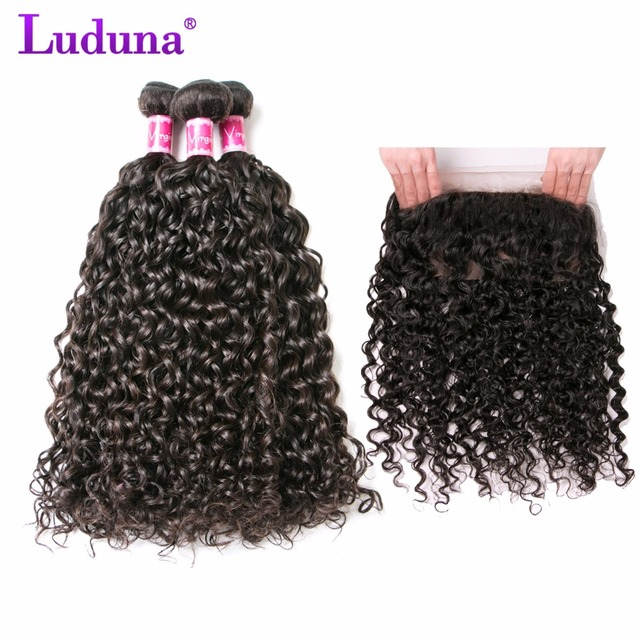 Luduna Hair 360 Lace Frontal Closure With Bundles Peruvian Water Wave Human Hair 3 Bundles With 360 Frontal Closure Non Remy  by Luduna