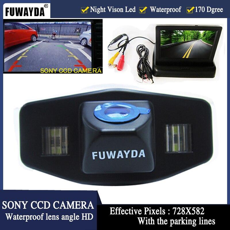 FUWAYDA LED SONY CCD caméra de recul de voiture pour Honda Accord pilote Civic Odyssey Acura TSX, avec moniteur LCD TFT pliable de 4.3 pouces