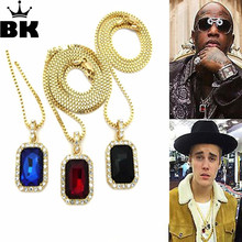 """Mens Iced Out Pendant Chain Hip Hop Rappers Micro Octagon Square Rinestone Color Stone Pendant With 2.4mm 24"""" Box Chain Goldtone"""