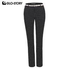 GLO-STORY Women 2018 Wear To Work Full Length Polka Dot Pants with Belt Feminist Formal Office Trousers WSK-5763