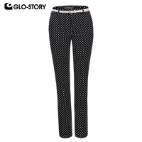 GLO STORY Women 2018 Wear To Work Full Length Polka Dot Pants with Belt Feminist Formal Office Trousers WSK 5763