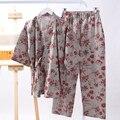Mulheres Senhora Quimono Japonês Pijamas Set Algodão Roupa de Treino Verão Curto-manga Roupão Yukata