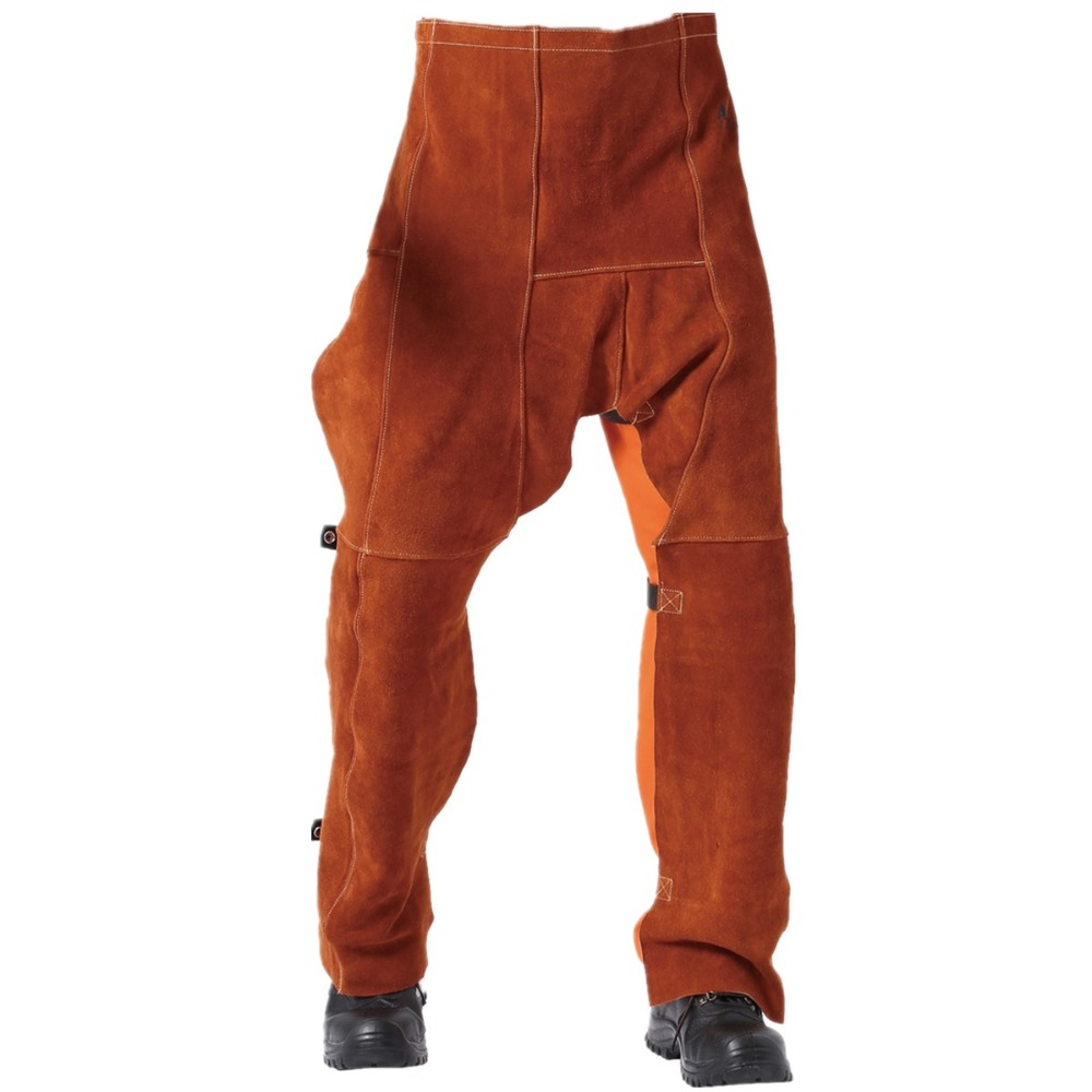 Welding Chaps Leather Welding Flame/Abrasion Resistant Trousers Cowhide Leather Worker Britches Working Pants