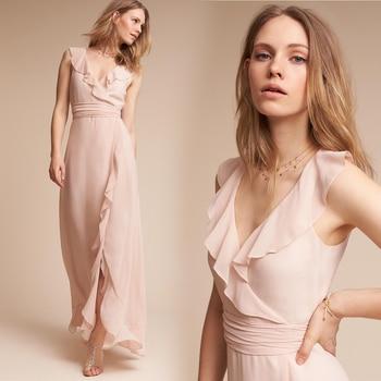 2020 Blush Pink V-neck Ruffles Vestidos De Feta Side Fairy Chiffon Split Long Bridesmaid Dresses With Sash Wedding Party Gowns