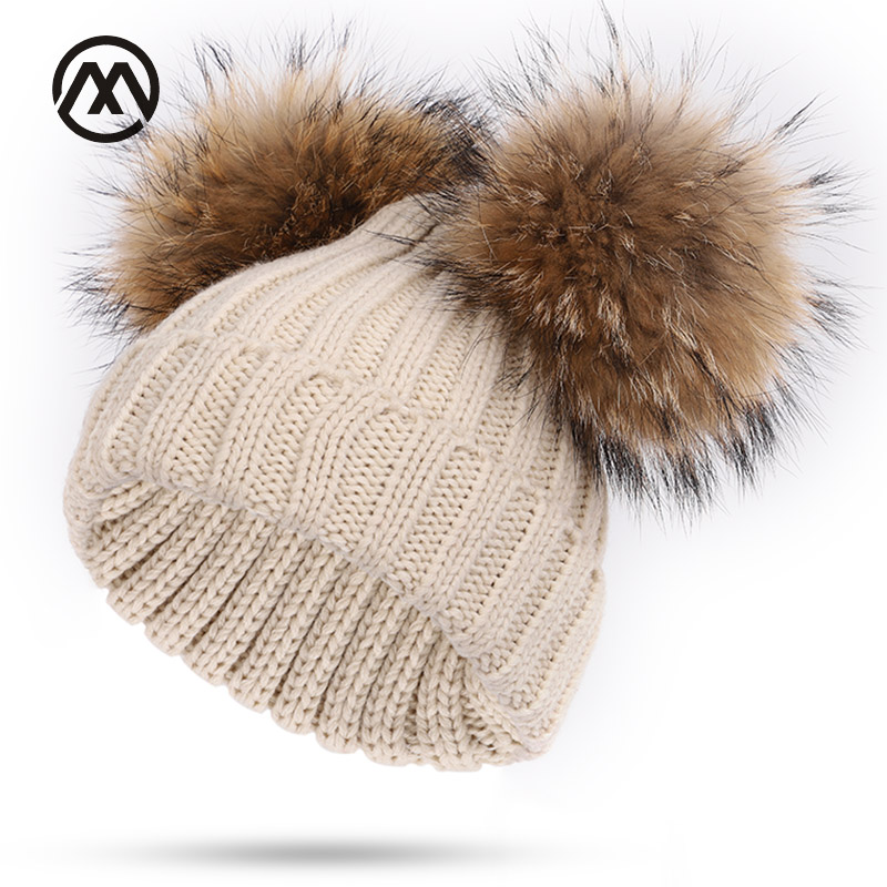 New Winter Knitted Children's Cotton Caps Raccoon Fur Pompom Warm Comfortable Boy Girl Agrees Fashion Hats Solid Color Thick