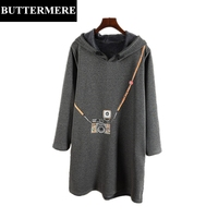 BUTTERMERE Autumn Winter Hooded Cotton Dress Plus Size 3XL Flannel Camera Printed Dress Warm Grey Elegant